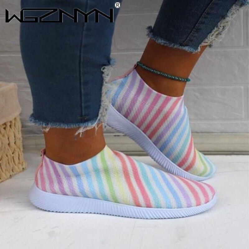 Summer Autumn Women Vulcanized Shoes Loafers High Quality Print Wedge Sport Fashion Casual Mesh Snea