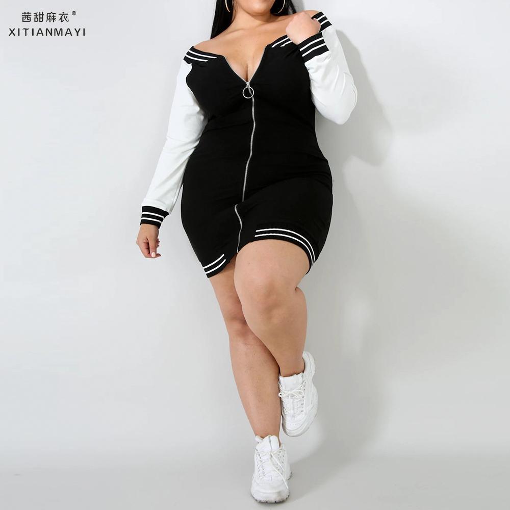 Mulheres outono sexy vestido plus size casual uma palavra colarinho mini festa clube vestido de manga longa preto branco contraste zip vestido d30