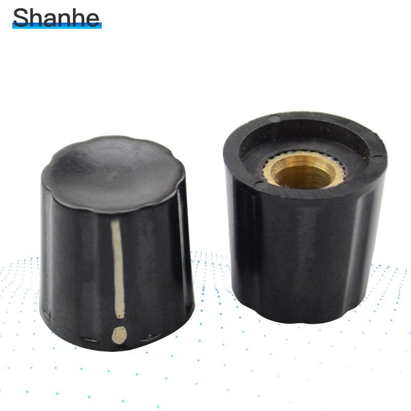 5 uds 6mm orificio de montaje baquelita potenciómetro botones del amplificador de 18*18*6mm botón giratorio