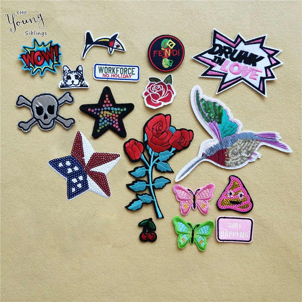 Flower Butterfly Skull Bird Patch Iron on Sew On Applique Cherry Badge Cheap stickers Embroidered Patches For Clothes Accessory