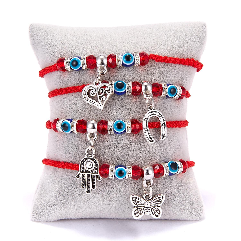 Classic Turkish Blue Evil Eye Round Beads Bracelet Lucky Red String Hamsa Hand Charm Bracelets Women Fashion Friendship Jewelry