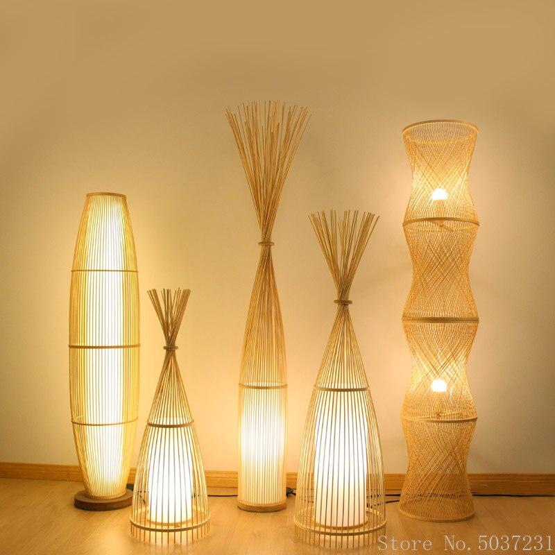 مصباح أرضي من الخيزران الياباني ، مصباح حصير على الطراز الاسكندنافي ، مصباح صيد عمودي ، مثالي لغرفة المعيشة أو غرفة النوم أو المكتب