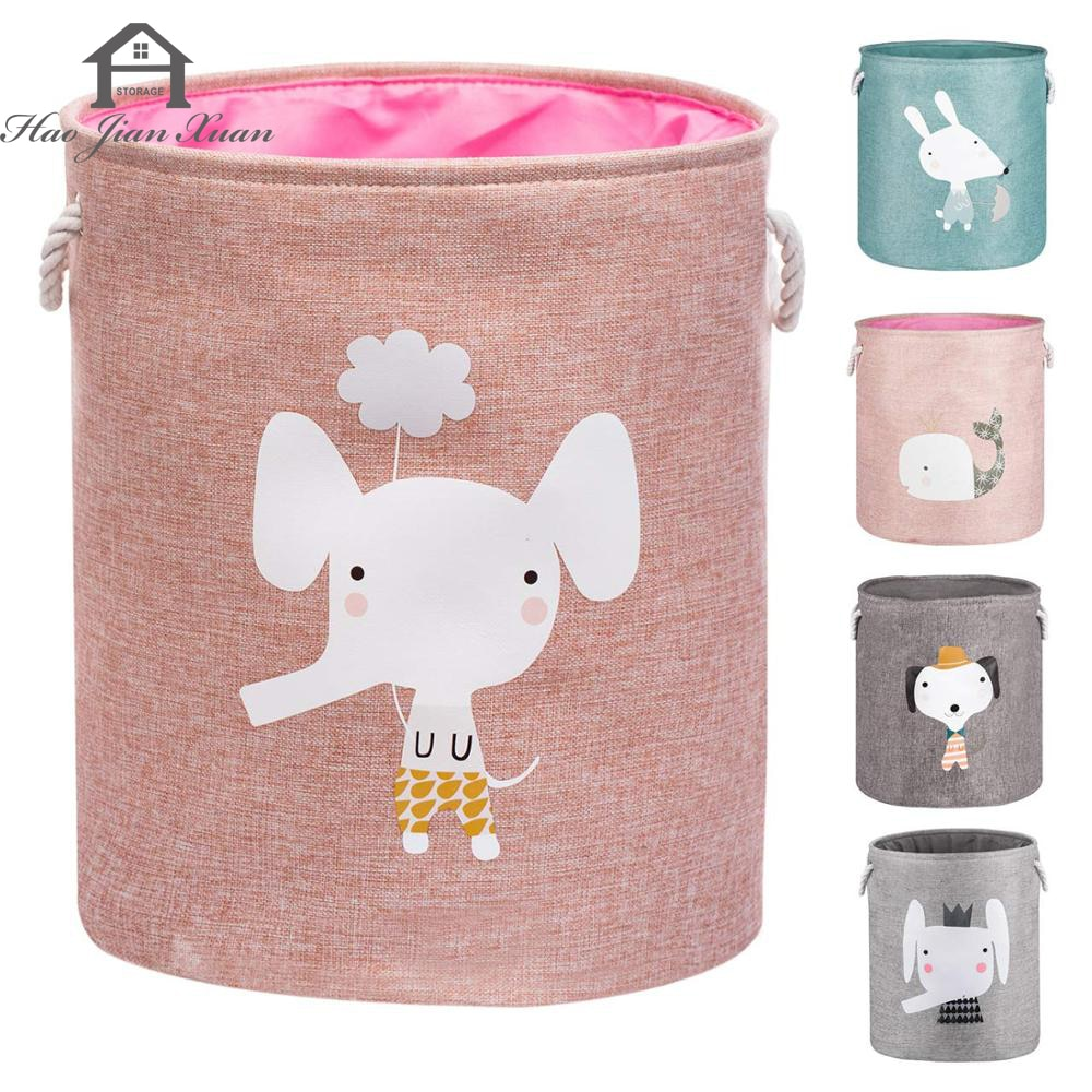 Large Folding Laundry Basket With Lid Toy Storage Baskets Bin For Kids Dog Toys Clothes Organizer Cute Animal Laundry bucket folding laundry basket for kids toy book storage basket sundries clothes organizer large capacity storage box with lid