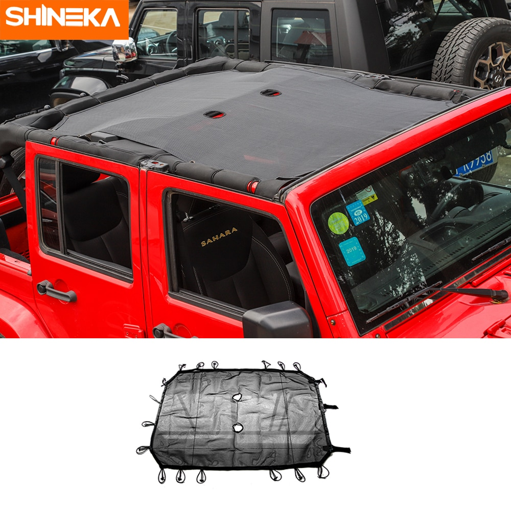 SHINEKA Car Covers For Jeep Wrangler JK 4Door Car Top Sunshade Cover Roof UV Proof Protection Net For Jeep Wrangler JK 2007-2017