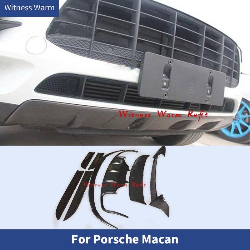 Fibra de carbono para difusor de parachoques trasero labio Spoiler Splitter alas traseras espejo retrovisor cubierta para Porsche Macan car body kit