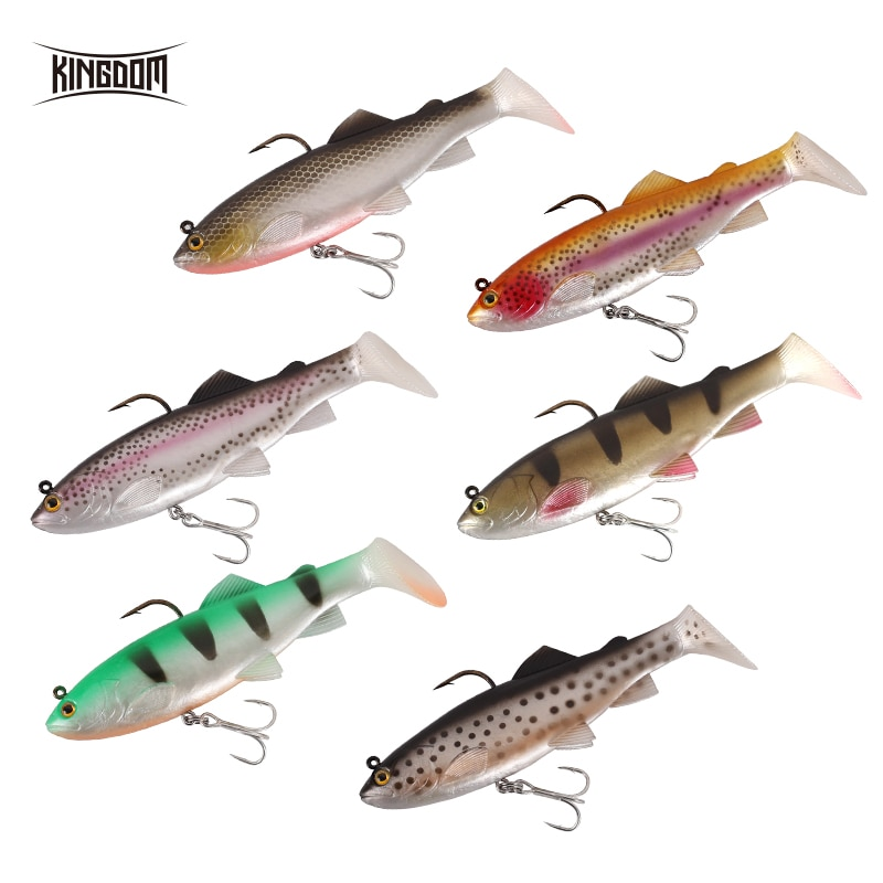Kingdom Hot  Pike Fishing Lures 120mm 38g Wobblers Pig Shad Soft T Tail Lead Head Sinking Soft Bait Crazy Trout Swimbait Lure enlarge