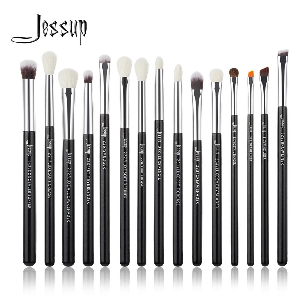 Jessup Black/Silver Professional Make up Brushes Set Brush Makeup Brush Tools kit Eye Liner Shader natural-synthetic hair