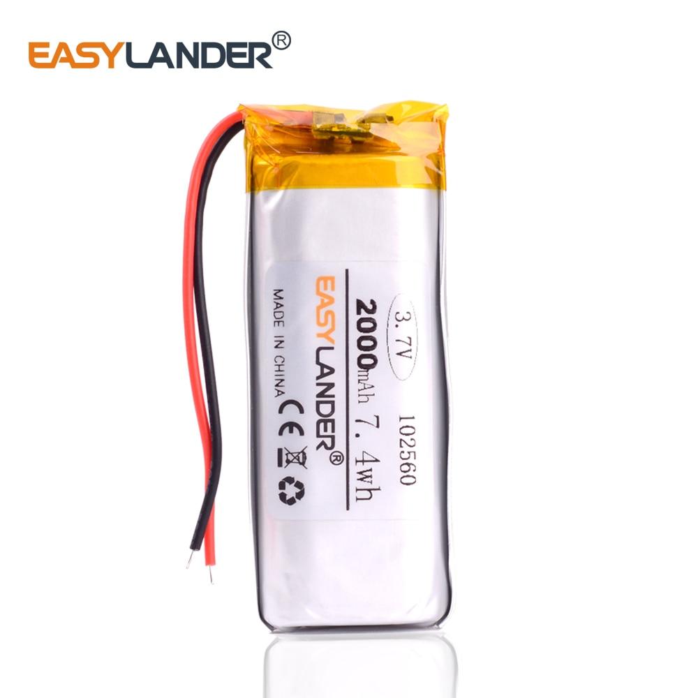 102560 3.7v 2000 mah bateria de polímero de lítio para interphone gps dvr veículo viagem gravador de dados bluetooth alto-falante brinquedos sexuais