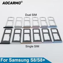 Aocarmo Single/Dual Metal Plastic Nano Sim Card Tray Slot Holder For Samsung Galaxy S8 SM-G9500 G950