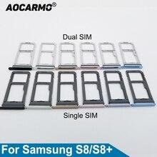 Aocarmo Single/Dual Metal Plastic Nano Sim Card Tray Slot Holder For Samsung Galaxy S8 SM-G9500 G950F S8 Plus SM-G955 S8+