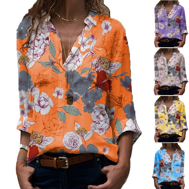 2021 summer women's printed long sleeve shirt floral loose shirt chemise oversize femme chemise femme
