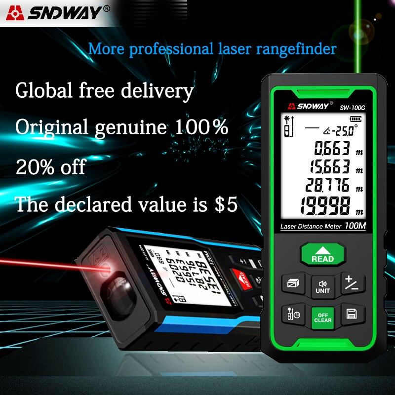 Medidor de distancia láser SNDWAY, telémetro Digital, herramientas de cinta métrica láser,...