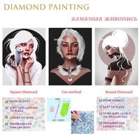 figure diamond painting pretty cool girl with depressed eyes cross stitch rhinestones square or round diamond home rooms decorat