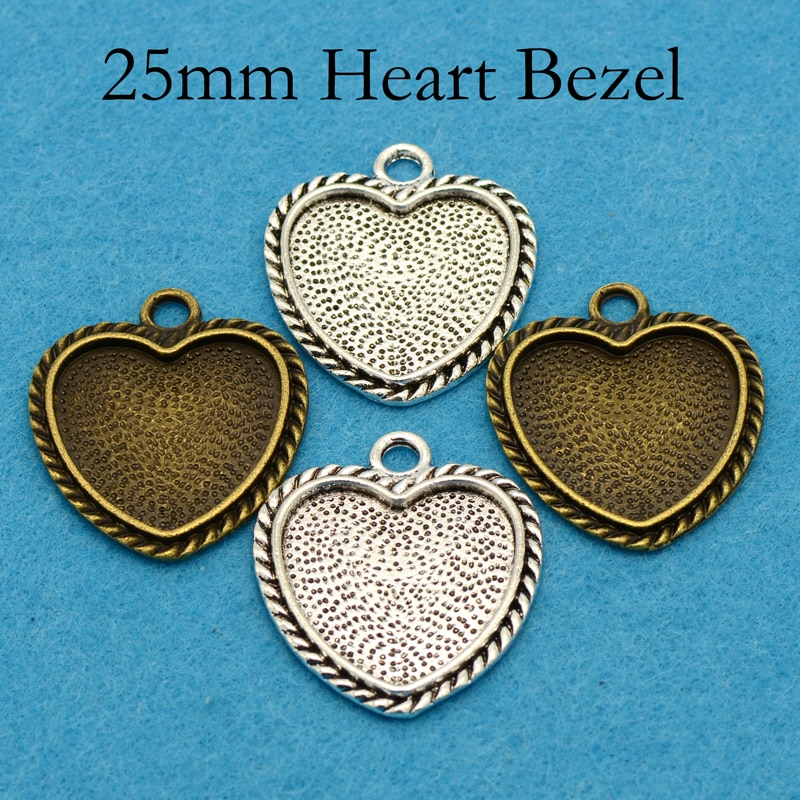 20 pcs - Fancy Heart Pendant Tray, Heart Pendant Setting, 25mm Heart Cameo Setting, Heart Frame Pendant, Heart Cabochon Setting