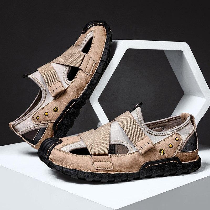 Sandálias de Couro dos Homens Sandalias de Cuero para Homem Sandalet Erkek Homme Moda Sapatos Verão Tamanho Grande Ete