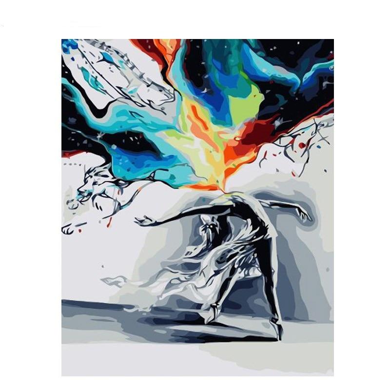 Dancing lienzo pintura bricolaje por números para niños acrílico abstracto pintura al óleo por números imagen sobre lienzo para arte moderno de pared