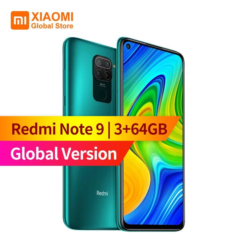 "Versão global xiaomi redmi nota 9 smartphone 3gb ram 64gb rom mtk helio g85 octa core 18w carregamento rápido 5020 mah 6.53 ""48mp"