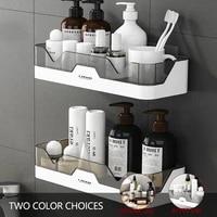 1pc bathroom shelf plastic shampoo holder wall mounted floating shelves kitchen spice organizer corner storage wc accessories