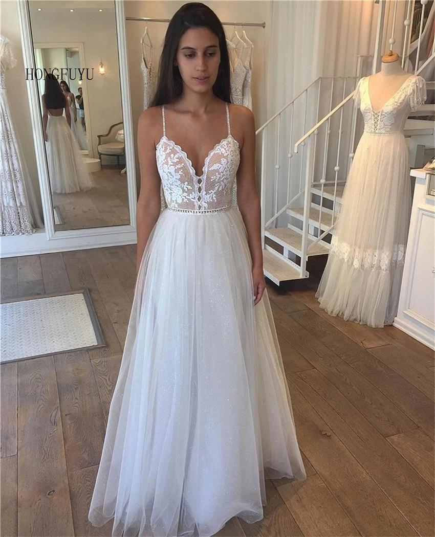 Hongfuyu винтажные пляжные свадебные платья 2021 Тюль Длинные Кружевные пляжные свадебные платья а-силуэта вечерние платья robe de mariage
