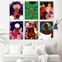 modern fashion canvas painting sexy girl poster and print wall art pictures for living room home decor black skin woman no frame