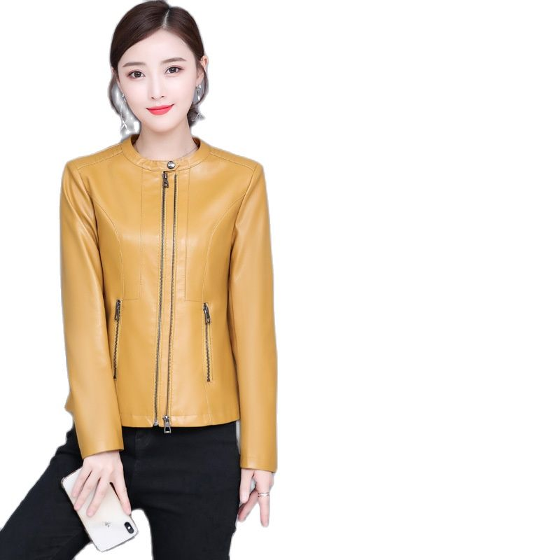 Autumn leather clothing women's large-size leather jacket locomotive jacket short coat biker jacket moto jacket women PU coat