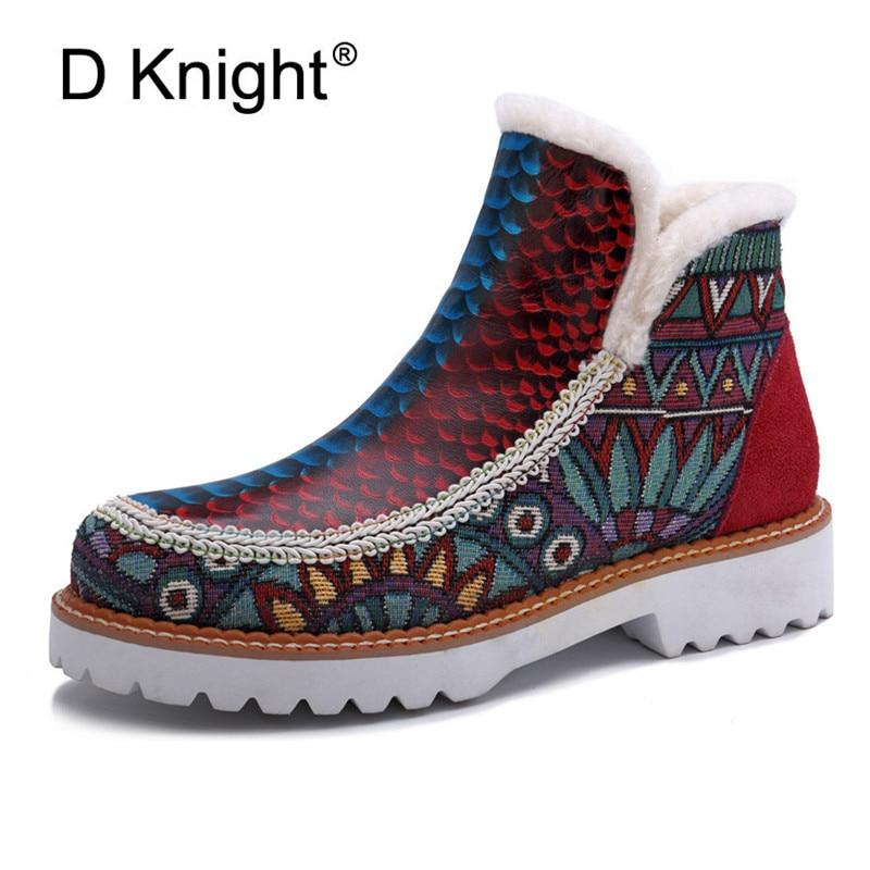 Botas femininas de couro genuíno marca de pele sapatos de inverno quente colorido impressão dedo do pé redondo casual tamanho grande feminino tornozelo botas de neve novo quente
