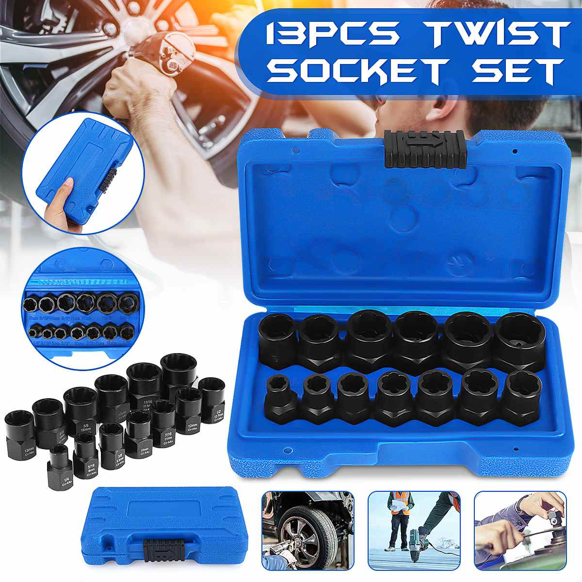 13Pcs Impact Damaged Bolt Nut Screw Remover Extractor Socket Tool Kit Removal Set Bolt Nut Screw Removal Socket Wrench 3/8\