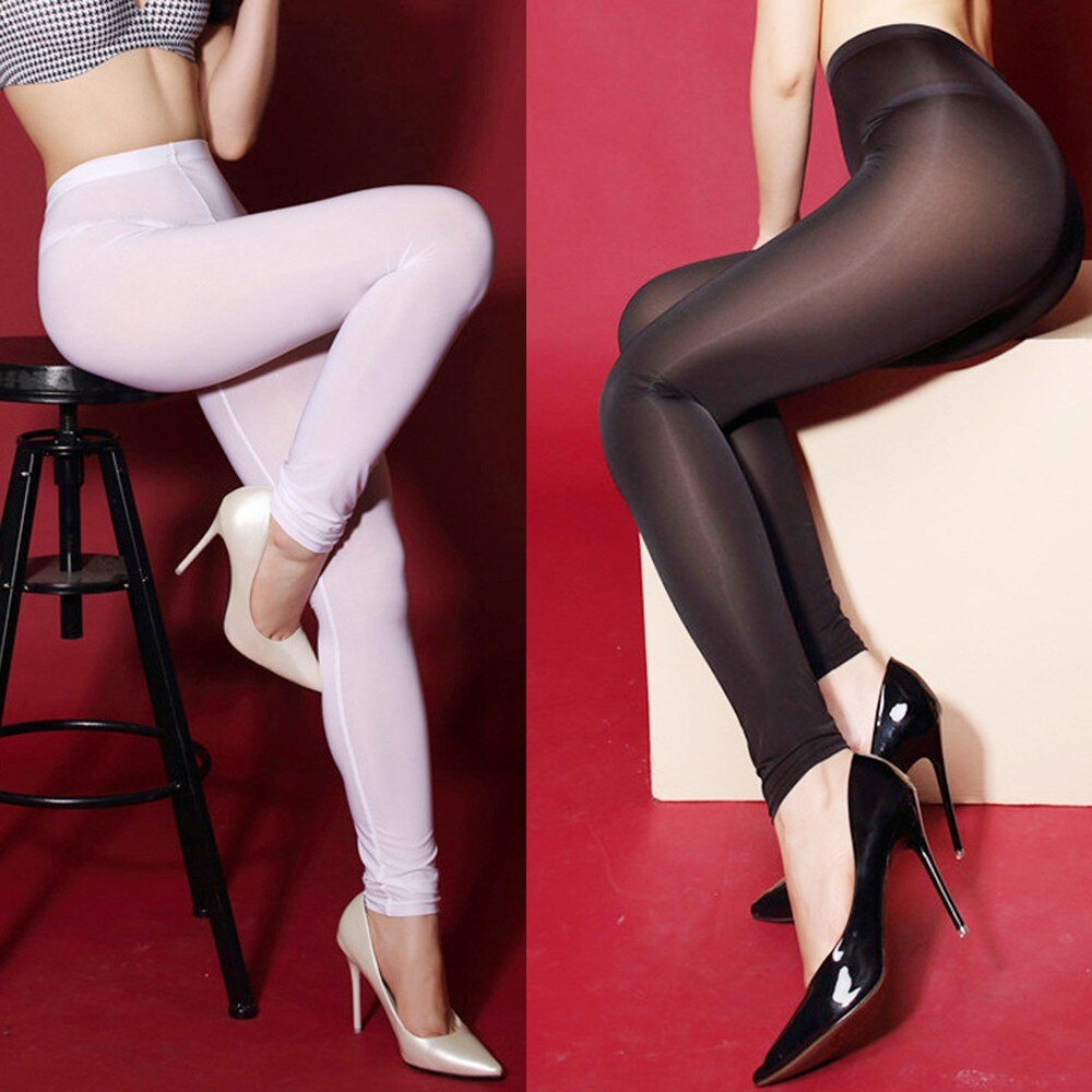 Women's Sexy Lingerie Leggings Pants For Sex See-through Sheer Pants Tights Crotchless Leggings Trou