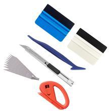 Kit de films de teinte pour vitres   Pellicule de vinyle de véhicule 6 en 1 couteau utilitaire, couteau utilitaire doux Go raclette dangle pour emballage de voiture K129