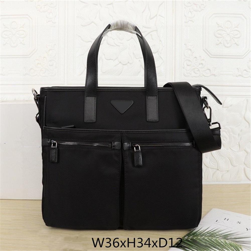 Black nylon briefcase men's briefcase multi-pocket handbag large capacity computer bag fashion office business messenger bag