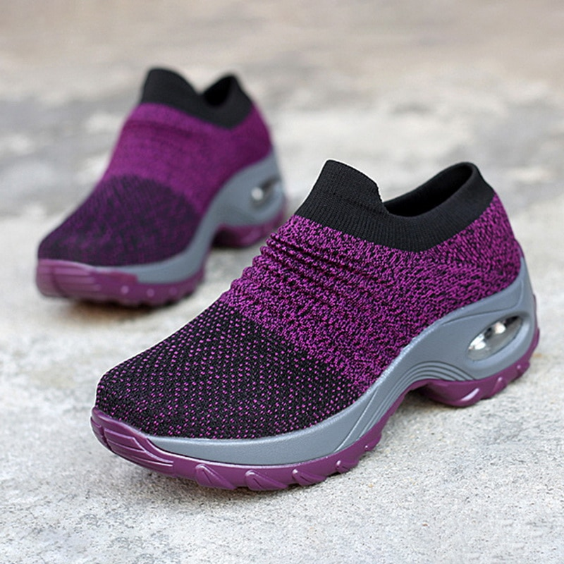 Running Sneakers Fashion Breathable Mesh Casual Shoes Platform Sneakers Men Platform Slip-On Sneakers Walking Women Shoes