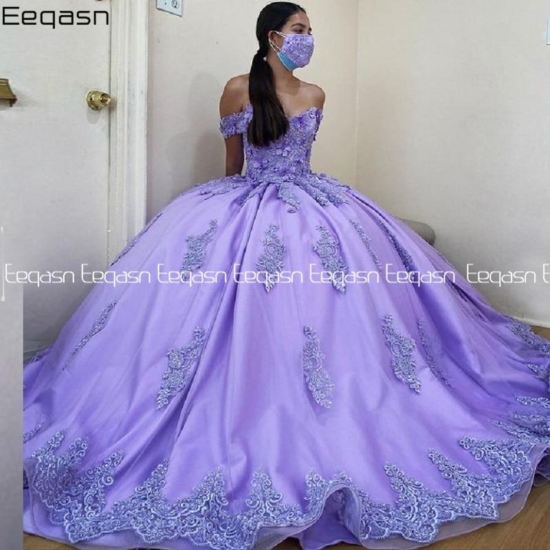 Eeqasn Ball Gown Quinceanera Dresses Off the Shoulder Lace Applique Flowers Court Train Prom Evening Gown Plus Size 2021