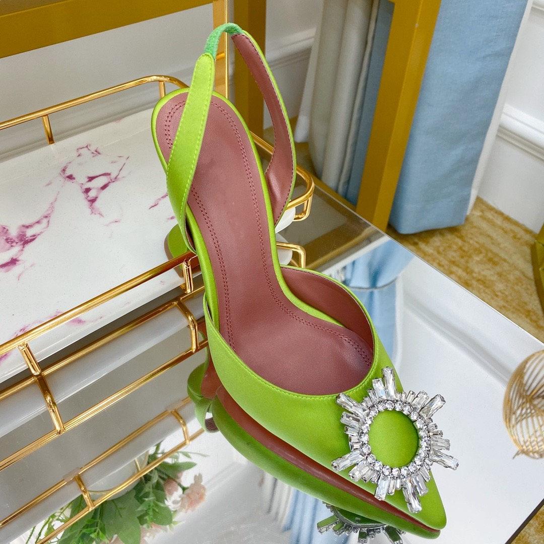 حذاء نسائي أنيق غير رسمي حذاء نسائي من الساتان الأخضر ستراس بمقدمة مدببة وكعب عالي حذاء مفتوح من الخلف حذاء للعروس والخنجر