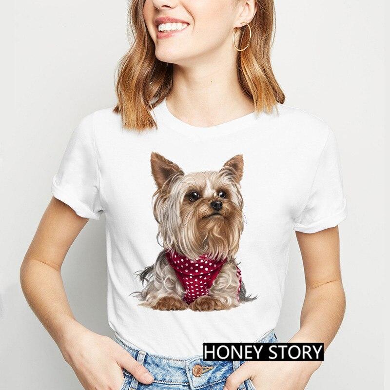 Camiseta con estampado de Yorkshire Terrier para mujer, remera de tacón alto...