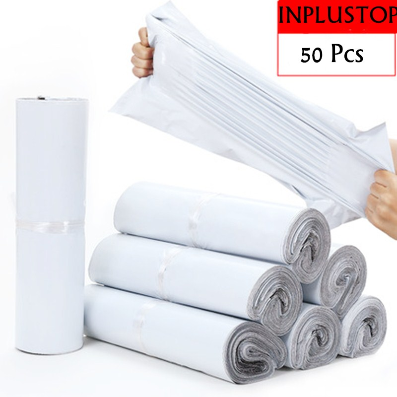 INPLUSTOP 50pcs/lot Opaque PE Plastic Express Envelope Storage Bags White Color Mailing Bags Self Adhesive Seal Courier Bag