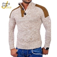 winter spring mens stand collar sweater pullovers male slim fit patchwork sweaters high street knitted pullover tops