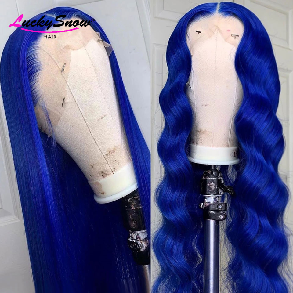 Blue Colored Human Hair Wig PrePlucked Brazilian Remy Long Straight Lace Front Human Hair Wigs For Women 8