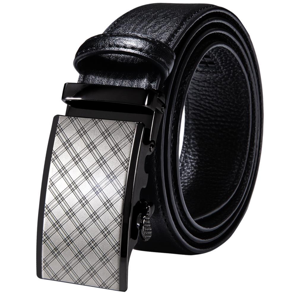 Fashion Black Genuine Leather Mens Belts Metal Automatic Buckles Men Belt Ratchet Waist Straps for Dress Jeans Casual Formal
