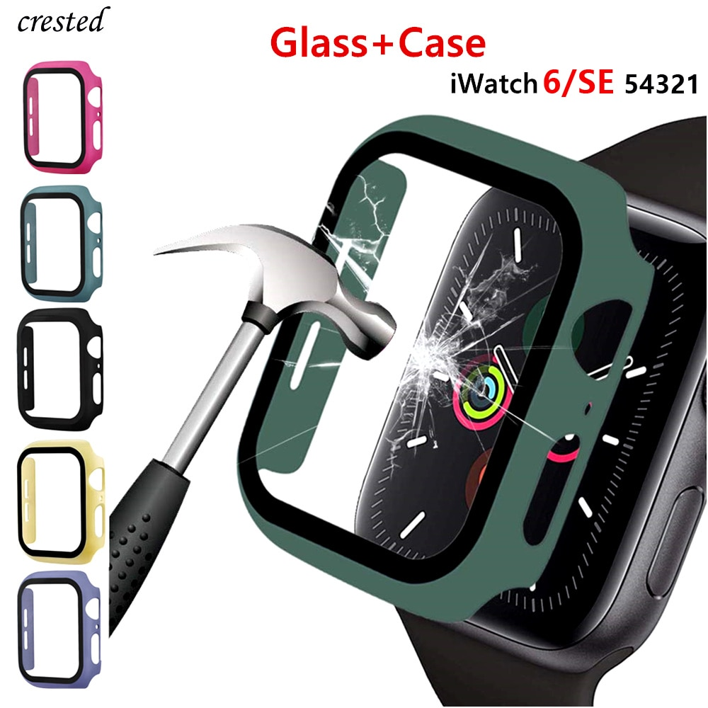 Glass+Cover For Apple Watch case 44mm 40mm 42mm 38mm iWatch case Accessorie bumper+Screen Protector Apple watch serie 3 4 5 6 SE