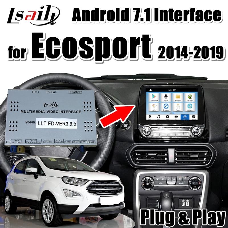 Interfaz de vídeo Multimedia de navegación Lsailt Android 7,1 para Ford Ecosport SYNC3 DE 2016-18 años compatible con youtube