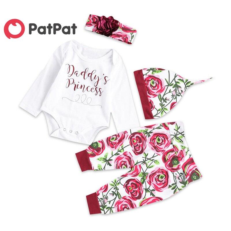 PatPat Otoño e Invierno algodón recién nacido Casual 4 piezas mono Rosa imprimir pantalones sombrero y bebé niña diadema traje de Gateo