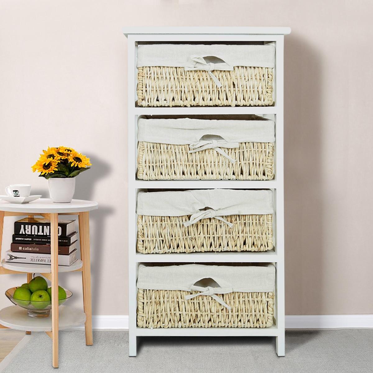 Panana, organizador de almacenamiento económico, cajones con 4 cestas de mimbre, marco de madera, cambio de zapato de entrada, muebles para el hogar