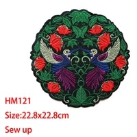 cartoon decorative round patch swallows birds rose icon embroidered applique patches for diy iron on badges stickers on backpack