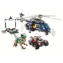 Kit de persecución de helicóptero azul del parque Jurassic World, bloques de construcción, modelo de película clásica, juguetes para niños, regalo
