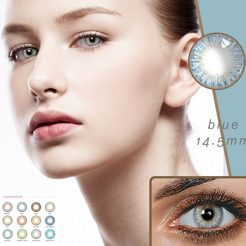 Красивые цветные контактные линзы для студентов, женские разноцветные линзы 14,5 мм, вечерние линзы в подарок, украшения для девочек с героями мультфильмов, для косплея