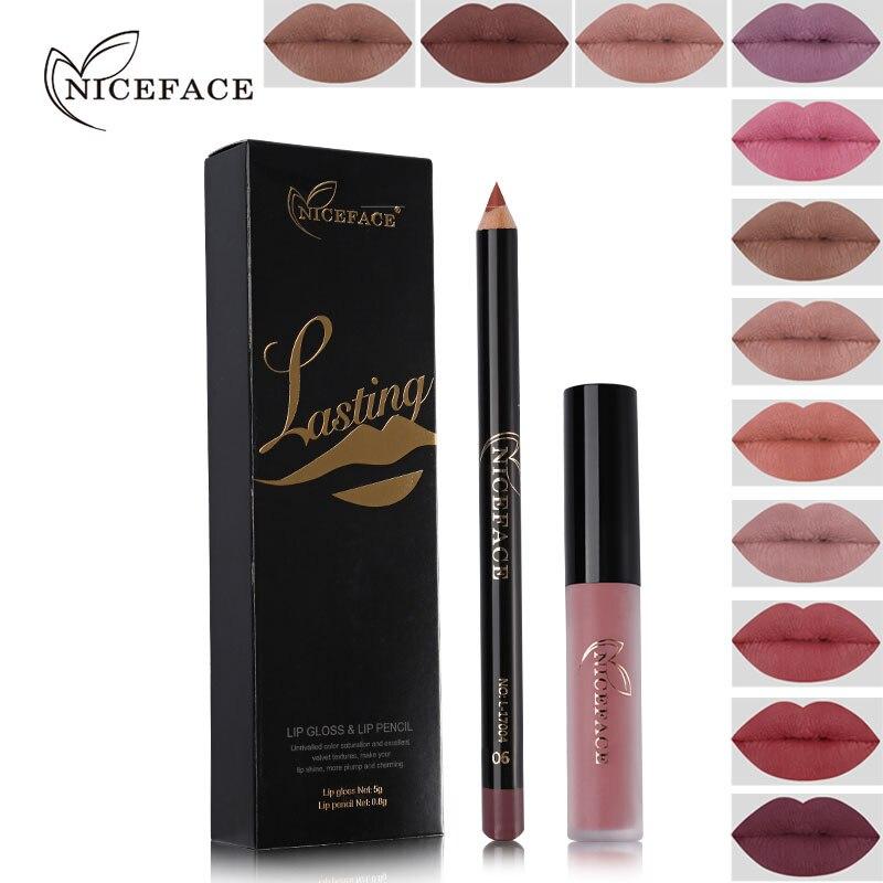 NICEFACE Brand 12 Color Lasting Matte Liquid Lip Gloss+Nude Lip Pencil Makeup Lipstick Set Ultra Waterproof Natural Velvet Lips