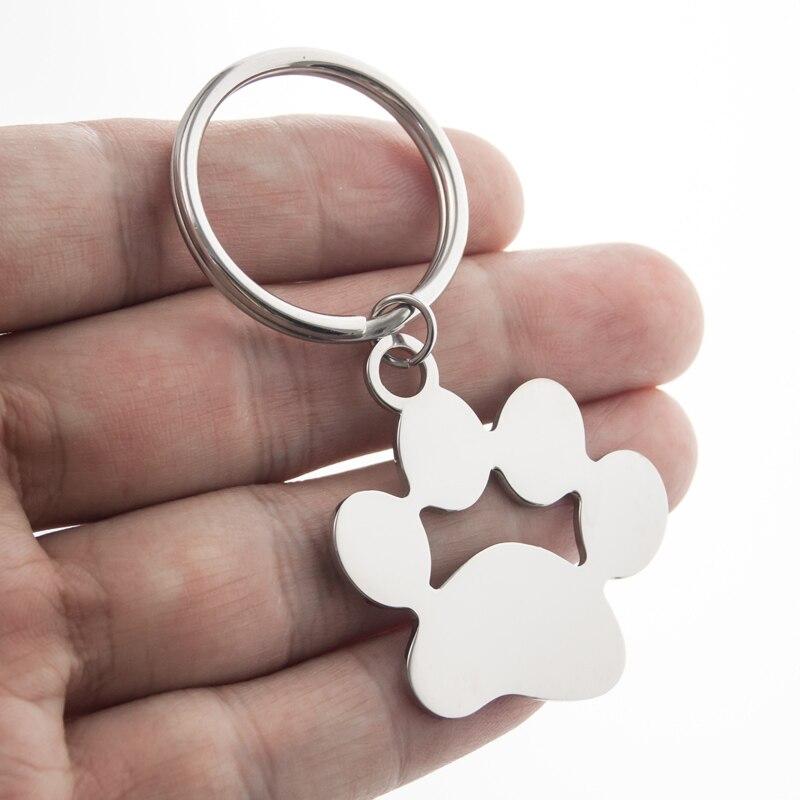 LLavero de 25mm /35mm con forma de pata de perro, llavero de Metal con forma de anillo de acero inoxidable para cachorros y gatos, accesorios de joyería pulidos con espejo de doble cara