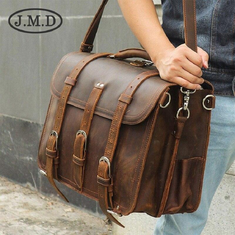 J.M.D 100% Genuine Leather Crazy Horse Mens Back packs Travel Bag Shoulder Messenger Handbags Briefcase