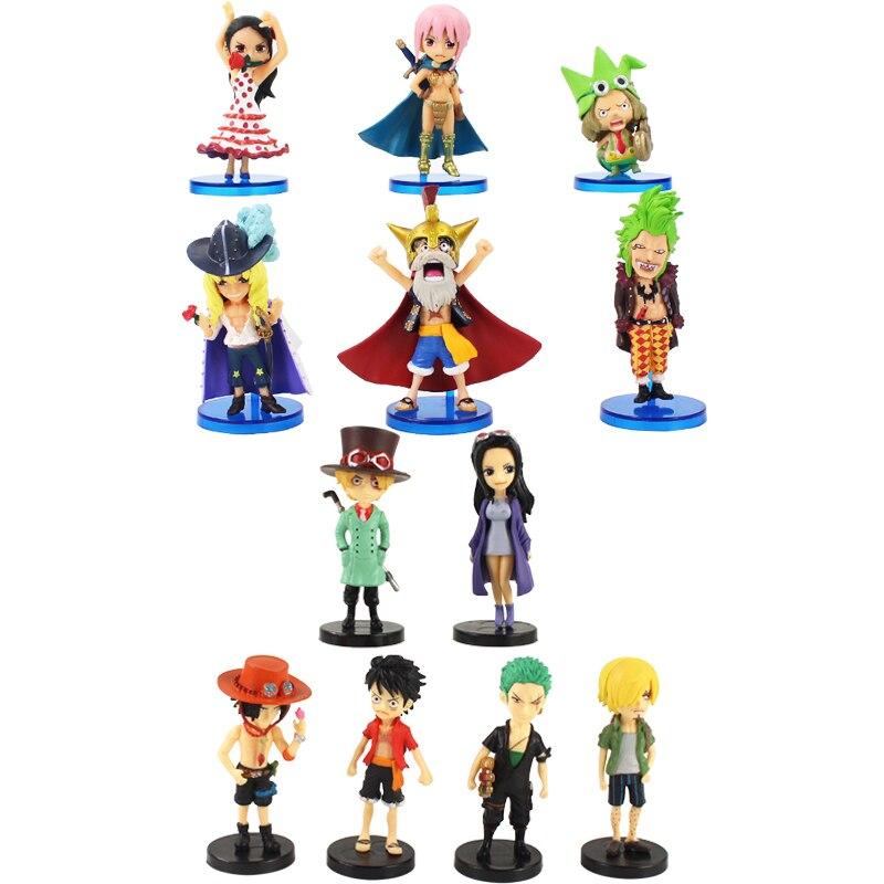 6 pçs 8cm figuras de uma peça luffy rebecca ace sabo sanji zoro robin viola leo cavendish bartolomeo anime modelo brinquedos