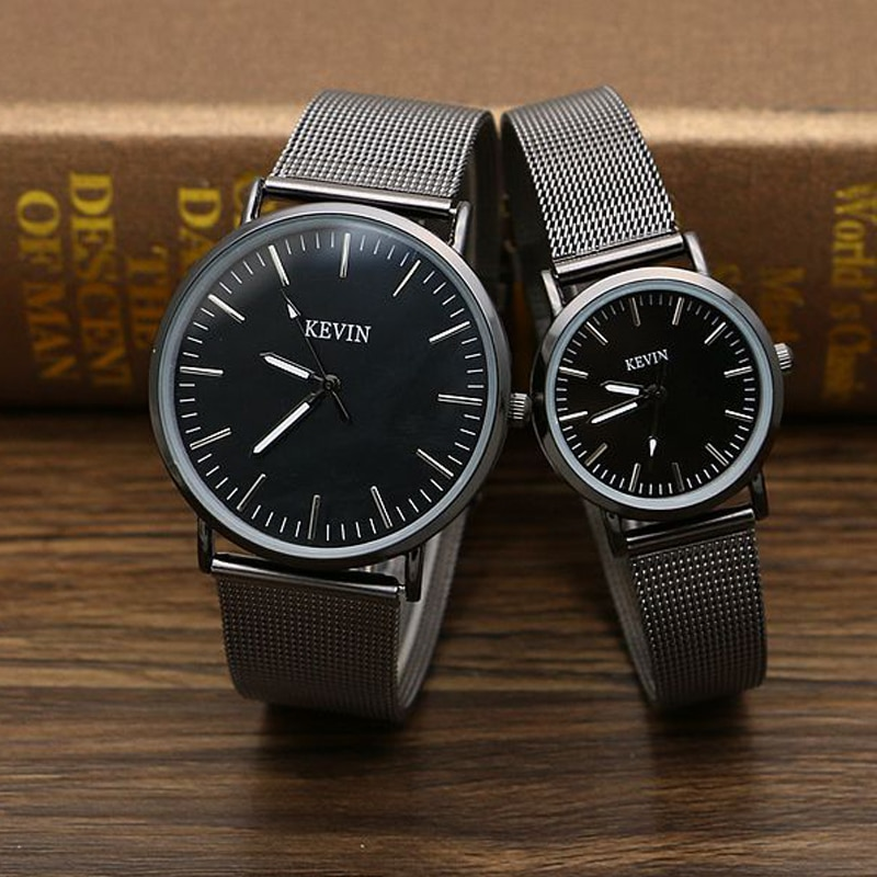 Couple Watches Stainless Steel Mesh Strap Lover's Watches Simple School Student Watch Gifts for Men